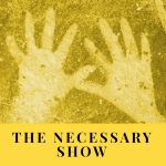 podcast cover with ancient stenciled hands